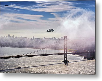 The Space Shuttle Endeavour Over Golden Gate Bridge 2012 Metal Print