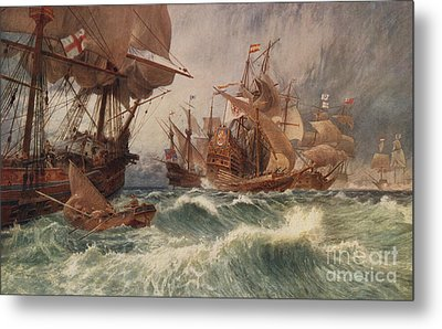 The Spanish Armada Metal Print by English School