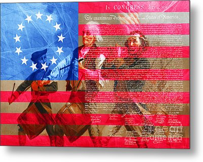 The Spirit Of 76 The American Flag And The Declaration Of Independence 20150704 Metal Print by Wingsdomain Art and Photography