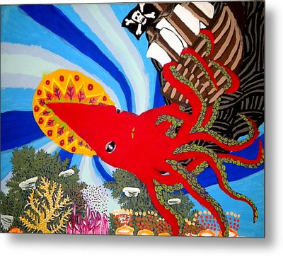 The Squid And The Pirate Ship Metal Print by Nick Reaves