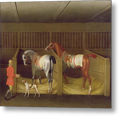 The Stables And Two Famous Running Horses Belonging To His Grace - The Duke Of Bolton Metal Print by James Seymour