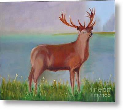 Metal Print featuring the painting The Stag by Rod Jellison
