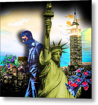 The Statue Of Liberty And A Banksy Pass In The Night Metal Print by Tony Rubino