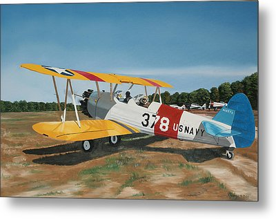 The Stearman Metal Print by Kenneth Young