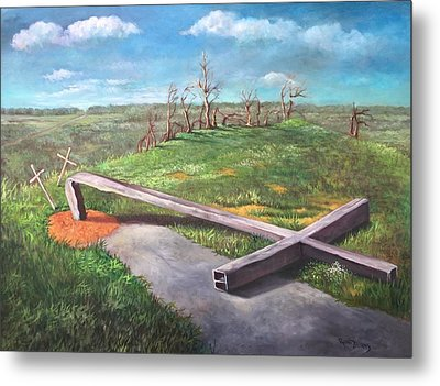 Metal Print featuring the painting Millsfield Tennessee Steel Cross by Randol Burns