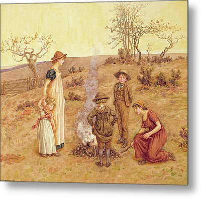 The Stick Fire Metal Print by Kate Greenaway
