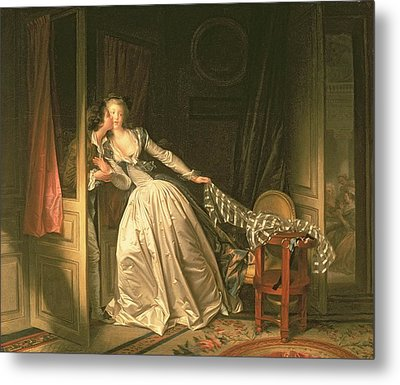 The Stolen Kiss Metal Print by Jean-Honore Fragonard