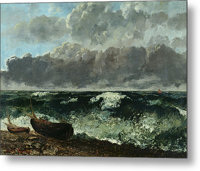 The Stormy Sea Metal Print by Gustave Courbet