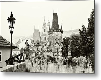 Metal Print featuring the photograph The Stream Of People On Charles Bridge. Prague by Jenny Rainbow