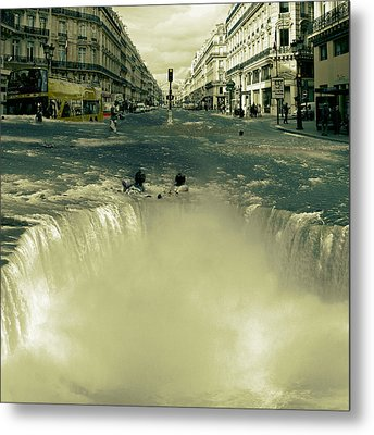 The Street Fall Metal Print