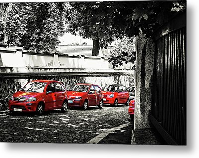 Metal Print featuring the photograph The Street Of Red Cars by Jenny Rainbow