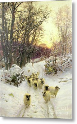 The Sun Had Closed The Winter's Day  Metal Print by Joseph Farquharson