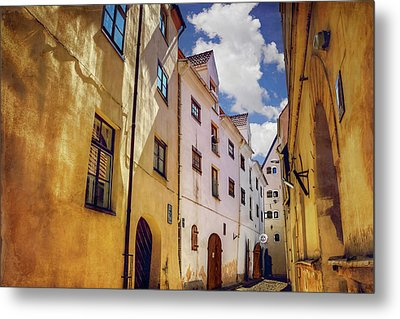 Metal Print featuring the photograph The Sunny Streets Of Old Riga  by Carol Japp