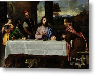 The Supper At Emmaus Metal Print by Titian