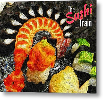 The Sushi Train Metal Print by ISAW Gallery