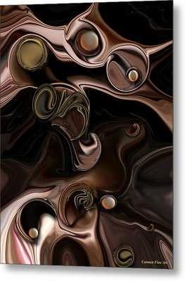 Metal Print featuring the digital art The Suspicious Abstraction by Carmen Fine Art