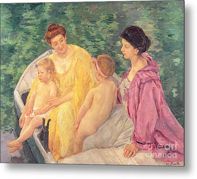 The Swim Or Two Mothers And Their Children On A Boat Metal Print by Mary Stevenson Cassatt