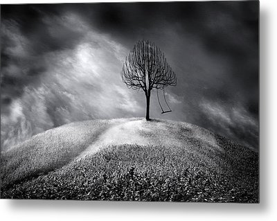 The Swing That Swings Alone Metal Print by Gray  Artus