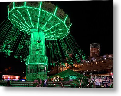 Metal Print featuring the photograph The Swings At Queen Mary's Chill by Eddie Yerkish