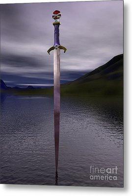 The Sword Excalibur On The Lake Metal Print
