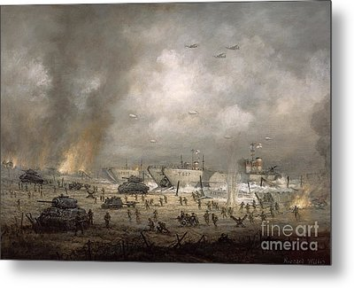 The Tanks Go In - Sword Beach  Metal Print by Richard Willis