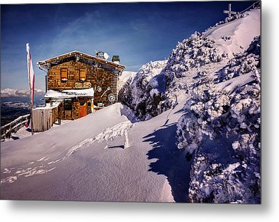 The Tavern On Untersberg Mountain Salzburg In Winter Metal Print