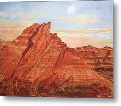 Metal Print featuring the painting The Teepees by Ellen Levinson
