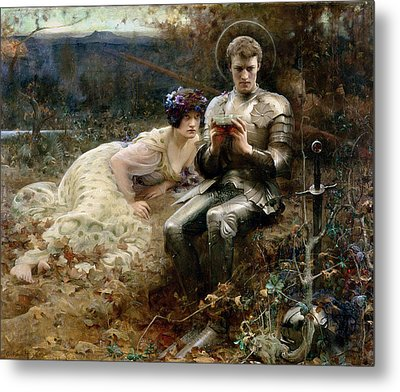 The Temptation Of Sir Percival Metal Print