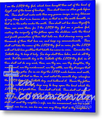 The Ten Commandments 20130213blue Metal Print by Wingsdomain Art and Photography