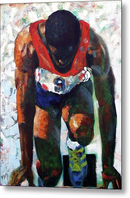 Metal Print featuring the painting The Tense Seconds by Walter Fahmy