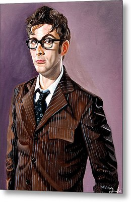 The Tenth Doctor And His Tardis Metal Print