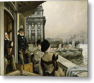 The Terrace Of The Trafalgar Tavern Greenwich Metal Print by James Jacques Joseph Tissot