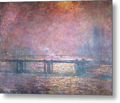 The Thames At Charing Cross Metal Print by Claude Monet