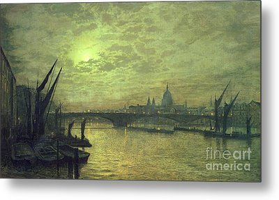 The Thames By Moonlight With Southwark Bridge Metal Print by John Atkinson Grimshaw