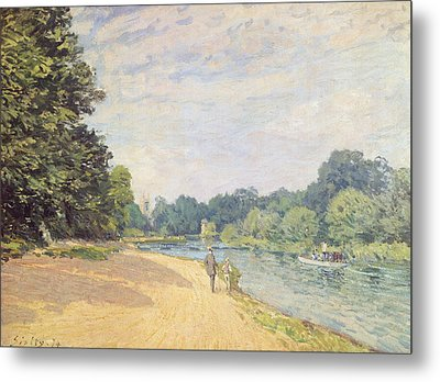 The Thames With Hampton Church Metal Print by Alfred Sisley