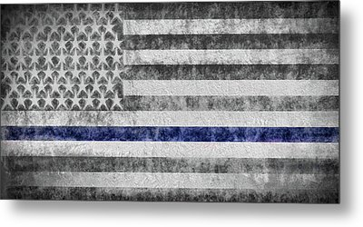 Metal Print featuring the digital art The Thin Blue Line American Flag by JC Findley