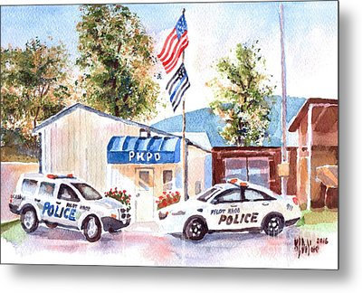 Metal Print featuring the painting The Thin Blue Line by Kip DeVore