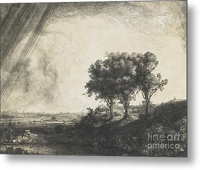 The Three Trees Metal Print by Rembrandt