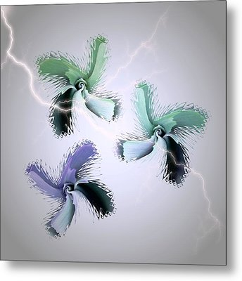 The Thunderbolt Dance Of Rose Butterflies - 5 Metal Print by Jacqueline Migell