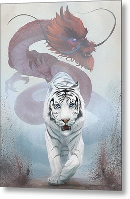 Metal Print featuring the digital art The Tiger And The Dragon by Steve Goad