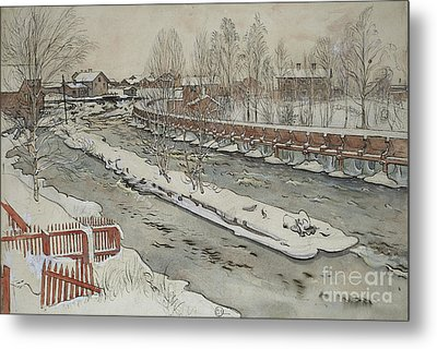 The Timber Chute, Winter Scene Metal Print