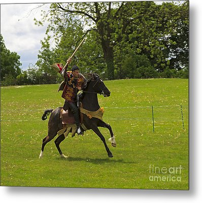 The Toss A Squire Throws A Javelin From Horseback Metal Print by Louise Heusinkveld