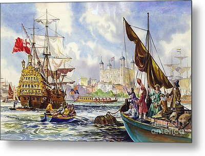 The Tower Of London In The Late 17th Century  Metal Print by English School