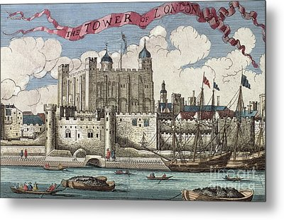 The Tower Of London Seen From The River Thames Metal Print by English School