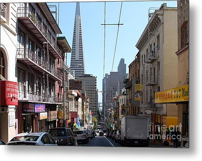 The Transamerica Pyramid Through Chinatown San Francisco Metal Print by Wingsdomain Art and Photography