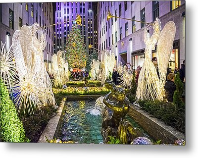 The Tree And Fountain Metal Print