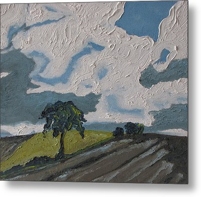 The Tree By The Brown Field Metal Print by Francois Fournier