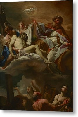 The Trinity With Souls In Purgatory Metal Print by Corrado Giaquinto