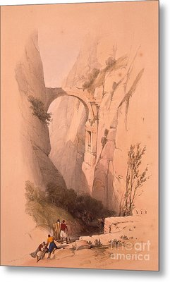 The Triumphal Arch Crossing The Ravine Leading To Petra Metal Print by MotionAge Designs