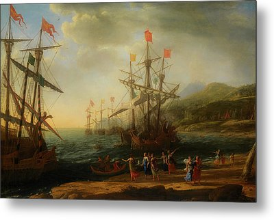 Metal Print featuring the painting The Trojan Women Setting Fire To The Fleet by Claude Lorrain